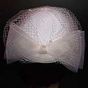 1960s Vintage Bridal Hat White & Ivory Netted New Old Stock