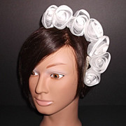 1960s Vintage Bridal Headpiece White Satin Tulle Floral Hair Accessory Wreath New Old Stock