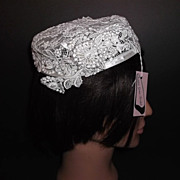 1960s Vintage Bridal Headpiece Ivory Crochet Lace Hat New Old Stock