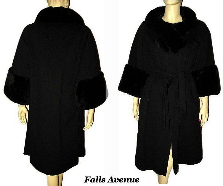 1960s Fabulous Saks Fifth Avenue Black Wool Coat with Sheared Fur Collar & Cuffs Size M