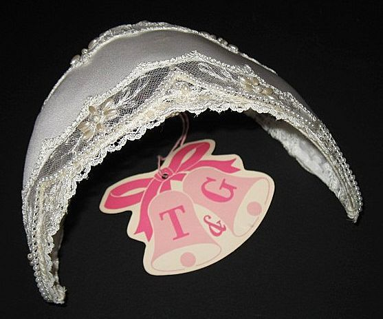 1960s Vintage Bridal Headpiece White Satin Lace Pearls Juliet Cap New Old