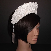 1960s Vintage Bridal Headpiece Off White Crochet Lace Tiara with Pearls New Old Stock