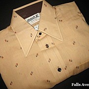 1970s Vintage Men's Shirt Arrow Label Atomic Tangerine New Old Stock Size Small