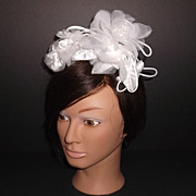 1960s Vintage Bridal White Two Silk & Tulle Floral Hair Accessories New Old Stock