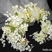 1960s Vintage Bridal Veil & Headpiece Silk Floral Wreath New Old Stock