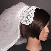 1950s Vintage Bridal Veil & Headpiece Juliet Cap White Crochet Chantilly Lace New Old Stock