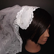 1950s Vintage Bridal Veil & Headpiece Juliet Cap Stunning White Chantilly Lace New Old Stock