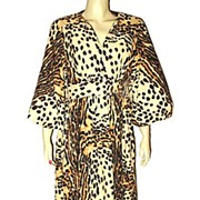 Vintage 1970s Morsam Label Leopard Print Robe Lounge Wear Size Small