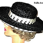 Vintage 1960s Black Cello Hat  with Polka Dots Wide Brimmed