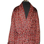 1970s Vintage Men's Smoking Jacket or Dressing Robe Majestic Label Size Medium/Large