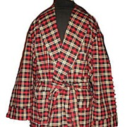 1960s Vintage Men's Dressing Robe Bel-Air Label Red & Black Plaid Size Medium/Large
