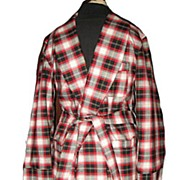 1960s Vintage Men's Dressing Robe Bel-Air Label Red & Black Plaid Size Small