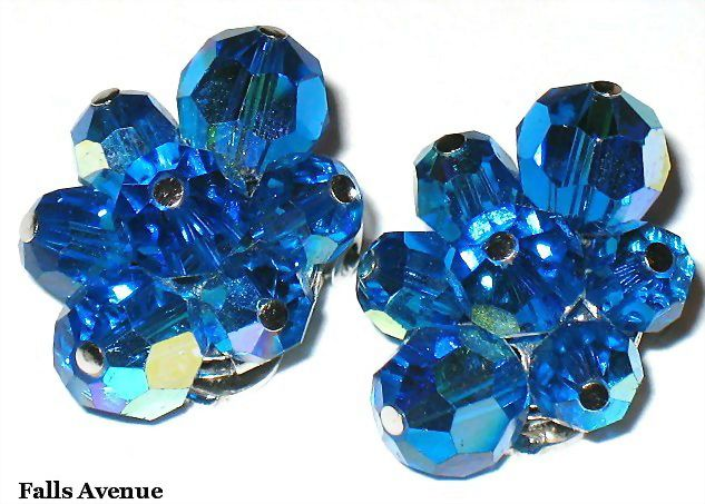 Vintage Signed Sherman Royal Blue AB Crystal Bead Earrings