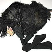 Victorian Mourning Bonnet Black Straw Silk & Lace Velvet Floral Hat with Jet Beading