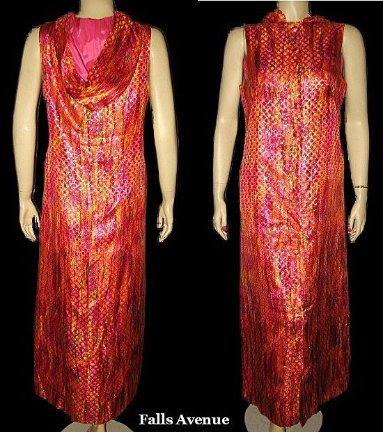 Vintage Lurex Brocade Hooded Lounging Dress with Matching Shorts Size Medium