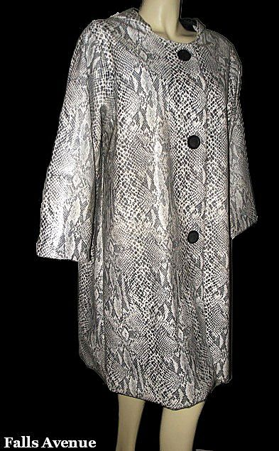 1960s Mod Vintage Vinyl Textured Snake Print Hooded Swing Raincoat Size Medium/Large