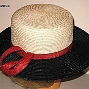 1960s Vintage Straw Hat Jacqueline Original Cream Red & Blue