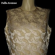 1970s Vintage Blouse Satin & Gold Embroidery Kay Silver Label Size Medium