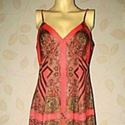 SALE 1970s Vintage Maxi Dress Coral Paisley Print Size Medium