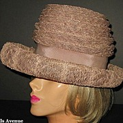 1960s Vintage Hat Layered Fawn Synthetic Straw Helen Yoffe Creation