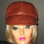 1970s Vintage Brown Leather  Hat Newsboy Cap Style