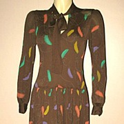 1970s Designer Vintage Jean Muir Brown Jersey Dress Size Small