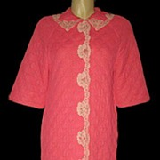 Vintage Robe Sears Roebuck & Co Quilted Pink with Lace Size Small
