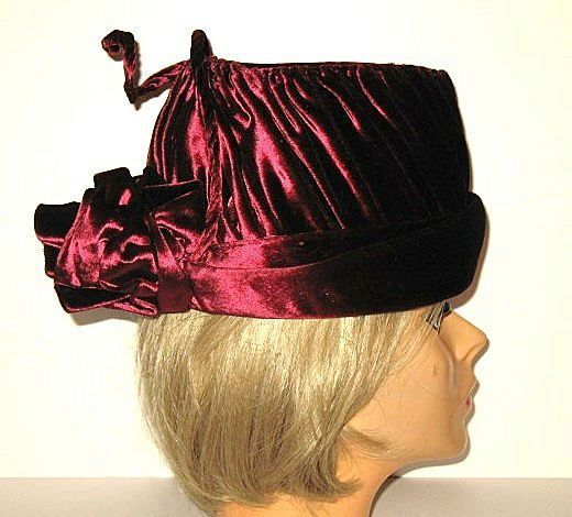 1950s Vintage Whimsical Hat Wine Red Velvet