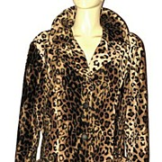 1980s Vintage Leopard Print Car Coat Frederick's of Hollywood Size M/L