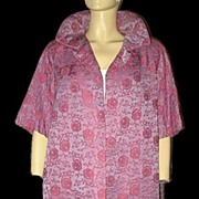 1960s Vintage Swing Clutch Coat Pink & Violet Embroidered Brocade Size  Medium