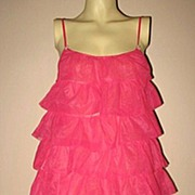 1970s Vintage Tiered Pink Negligee or Baby Doll Baxter Ratcliff Size Medium