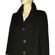 1960s Vintage Black Boucle Wool Coat Size Large