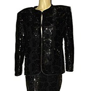 SALE 1980s Vintage Two Piece Formal Dress Suit Sparkle Black Sequined Jacket & Skirt  Set Size