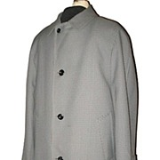 1970s Vintage Men's Houndstooth Overcoat with Zippered Lining Richman Brothers Size Medium 42