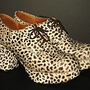 1970s Wood Platform Shoes Cheetah Print Dyed Hide Size 8.5