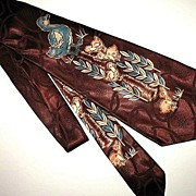 1940s Vintage Men's Necktie Brown Silk Painted Ducks Art Style by Metro