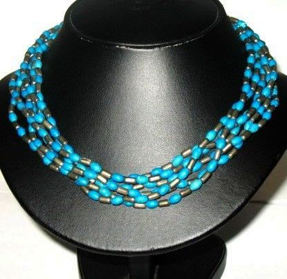 Vintage Native American Style Faux Turquoise & Pewter Multi Strand Beaded Necklace