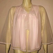 Early 1960s Vintage Pink Chiffon Bed Jacket Harvey Woods Label Size Medium/Large