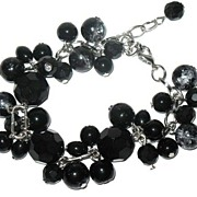 1980s Vintage Dangling Black Glass Beads Bracelet