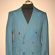 1970s Vintage Men's Two Piece Gangster Suit Blue Striped New Wave Co Size 38