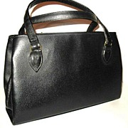 1960s Vintage Black Leather Footed Handbag Made in Czechoslovakia