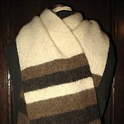 1980s Vintage Men's Scarf Icelandic Wool Brown & Cream