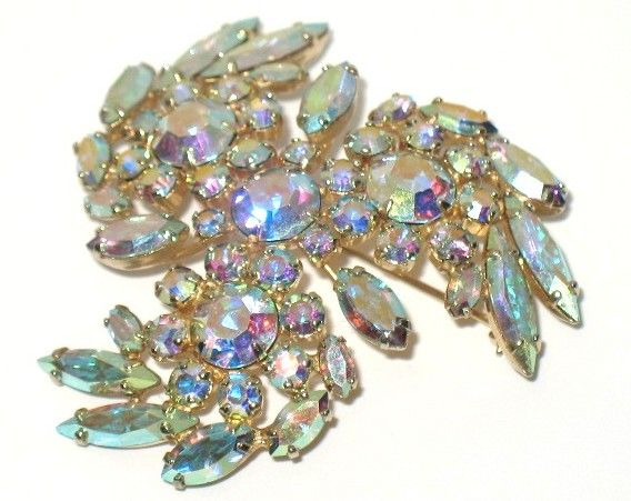 Vintage Costume Jewelry Signed Sherman AB Crystal Pin