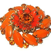 1960s Vintage Orange Glass Pinwheel Brooch