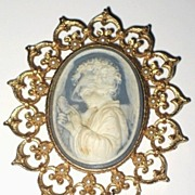 1960s Vintage Costume Jewelry Cameo with Simulated Pearls Pin