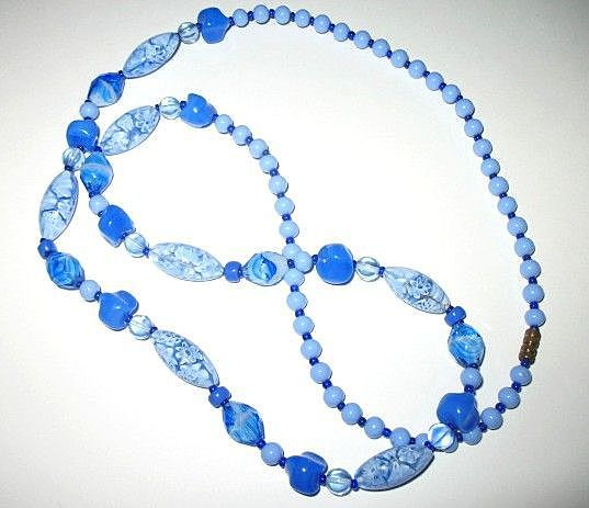 Vintage Costume Jewelry Cobalt  & Light Blue Glass Beads Opera Length Necklace