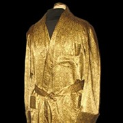 1970s Vintage Men's Dressing Robe or Smoking Jacket Gold & Green Health Label Size Small