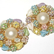Late 1950s Vintage Costume Jewelry Signed Beau Jewels Simulated Pearls & AB Glass Earrings
