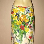 1970s Vintage Floral Cotton Wrap Skirt Dorothy Z Size Medium