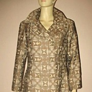 Early 1970s Vintage Women's Coat Lydia Label Brown Atomic Print Size Medium